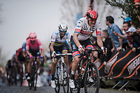 Alexander Kristoff (NOR/UAE) up the Oude Kwaremont<br /> <br /> 103rd Ronde van Vlaanderen 2019<br /> One day race from Antwerp to Oudenaarde (BEL/270km)<br /> <br /> ©kramon