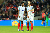 5th October 2017, Wembley Stadium, London, England; FIFA World Cup Qualification, England versus Slovenia; Harry Kane, the England captain  speaks with Marcus Rashford of England