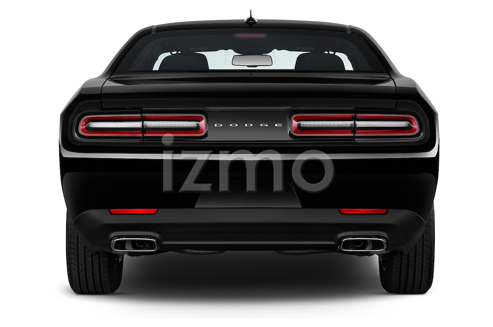 Straight rear view of a 2015 Dodge Challenger SXT 2 Door Coupe Rear View  stock images