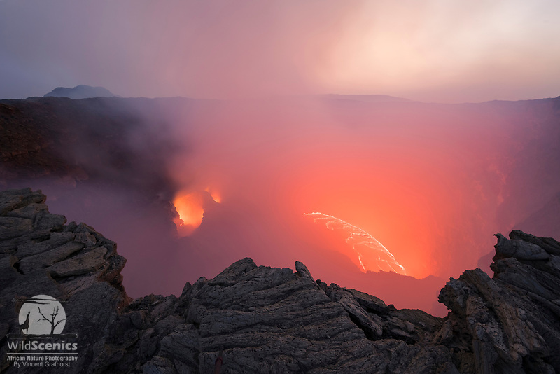 The crater of the Erta Ale Volcano at twilight, Danakil Depression, Ethiopia, Africa
