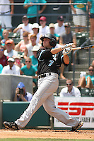 The Coastal Carolina University Chanticleers shortstop Tyler Motter #7 homering during an at bat during the 2nd and deciding game of the NCAA Super Regional vs. the University of South Carolina Gamecocks on June 13, 2010 at BB&T Coastal Field in Myrtle Beach, SC.  The Gamecocks defeated Coastal Carolina 10-9 to advance to the 2010 NCAA College World Series in Omaha, Nebraska. Photo By Robert Gurganus/Four Seam Images