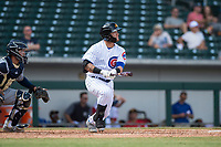 Mesa Solar Sox center fielder D.J. Wilson (1), of the Chicago Cubs organization, starts down the first base line in front of catcher Mario Feliciano (6) during an Arizona Fall League game against the Peoria Javelinas at Sloan Park on October 11, 2018 in Mesa, Arizona. Mesa defeated Peoria 10-9. (Zachary Lucy/Four Seam Images)