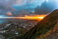 "An aerial view of the sunrise from Haiku Stairs (""Stairway to Heaven"") hiking trail in Kaneohe, Oahu"