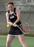 STAFF PHOTO ANTHONY REYES &bull; @NWATONYR<br /> Mallory Tabler, of Bentonville, returns a volley during a doubles match during the 7A-West Conference girls tennis tournament Wednesday, Oct. 8, 2014 at the Springdale Har-Ber tennis courts.