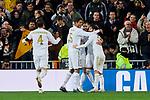 Players of Real Madrid celebrate goal during UEFA Champions League match between Real Madrid and Paris Saint-Germain FC at Santiago Bernabeu Stadium in Madrid, Spain. November 26, 2019. (ALTERPHOTOS/A. Perez Meca)