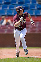 Barry Butera #16 of the Boston College Eagles hustles down the first base line versus the Wake Forest Demon Deacons at Wake Forest Baseball Park April 11, 2009 in Winston-Salem, NC. (Photo by Brian Westerholt / Four Seam Images)