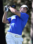 Denver Broncos quarterback Tim Tebow watches a tee shot during a practice round at the 22nd American Century Celebrity Golf Championship at Edgewood Tahoe Golf Course in Stateline, Nev., on Thursday, July 14, 2011. Tebow's brother Robby is at right.  .Photo by Cathleen Allison