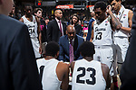 Wake Forest Demon Deacons head coach Danny Manning addresses his team during a second half timeout in the game against the Georgia Tech Yellow Jackets at the LJVM Coliseum on February 14, 2018 in Winston-Salem, North Carolina.  The Demon Deacons defeated the Yellow Jackets 79-62.  (Brian Westerholt/Sports On Film)