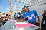 Richard Carapaz (ESP) Movistar Team at sign on before Stage 11 of the 2019 Giro d'Italia, running 221km from Carpi to Novi Ligure, Italy. 22nd May 2019<br /> Picture: Massimo Paolone/LaPresse | Cyclefile<br /> <br /> All photos usage must carry mandatory copyright credit (© Cyclefile | Massimo Paolone/LaPresse)