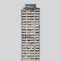The Zacateca building at the 60s modernist urban housing development Nonoalco Tlatelolco,  Mexico City, Mexico