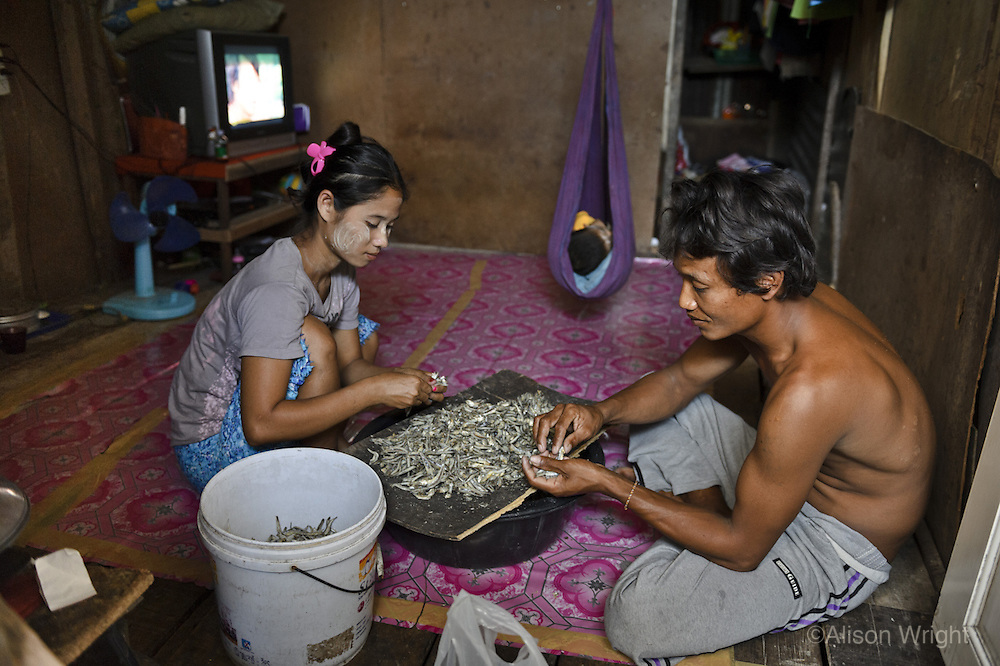 Burmese refugees in Phuket, Thailand. A couple peel the heads of small fish to help earn a living as their baby sleeps in the background in their home. One seven kilo bag will bring in about 70 THB (about $2.00 a bag).