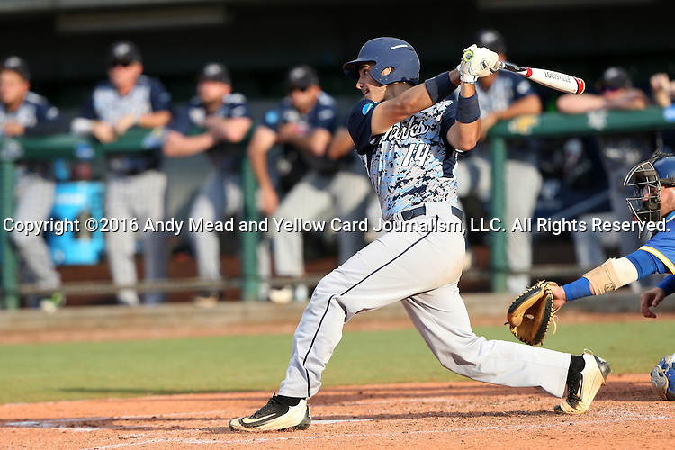 31 May 2016: Nova Southeastern's Jake Anchia. The Nova Southeastern University Sharks played the Lander University Bearcats in Game 8 of the 2016 NCAA Division II College World Series  at Coleman Field at the USA Baseball National Training Complex in Cary, North Carolina. Nova Southeastern won the game 12-1.