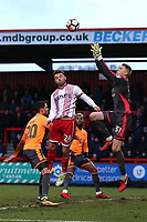 Anssi Jaakkola of Reading denies Matthew Godden of Stevenage during Stevenage vs Reading, Emirates FA Cup Football at the Lamex Stadium on 6th January 2018
