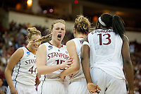 FRESNO, CA--Lindy LaRocque celebrates a Cardinal score during a 76-60 win over South Carolina at the Save Mart Center for the West Regionals semifinals of the 2012 NCAA Championships.