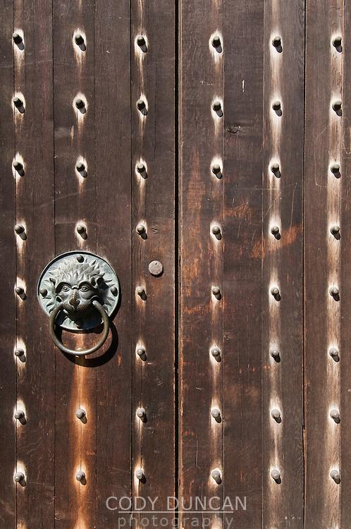 Wood door detail, Saint Sebaldus - Sebald's chruch, Nuremberg, Franconia, Bavaria, Germany