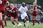 14 August 2014: Duke's Toni Payne (10) and South Carolina's Lindsey Lane (73). The Duke University Blue Devils hosted the University of South Carolina Gamecocks at Koskinen Stadium in Durham, NC in a 2014 NCAA Division I Women's Soccer preseason match. Duke won the exhibition 2-0.