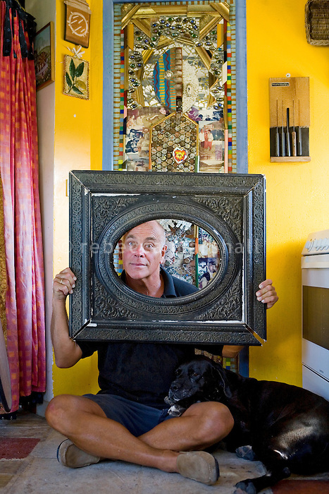 Nall, artist, poses for the photographer at his studio, The N.A.L.L. Art Association, Vence, France, Saturday 21st August 2010
