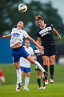 Sky Blue FC midfielder Sophie Schmidt (16) goes up for a header with Boston Breakers midfielder Joanna Lohman (11). Sky Blue FC and the Boston Breakers played to a 0-0 tie during a National Women's Soccer League (NWSL) match at Yurcak Field in Piscataway, NJ, on July 13, 2013.