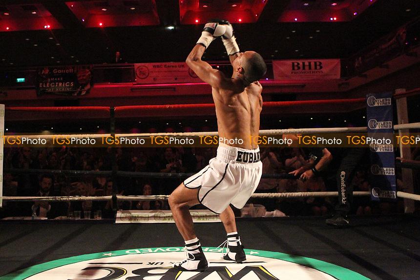 Harlem Eubank celebrates winning his boxing pro debut  at the Metropole Hotel on 27th May 2017