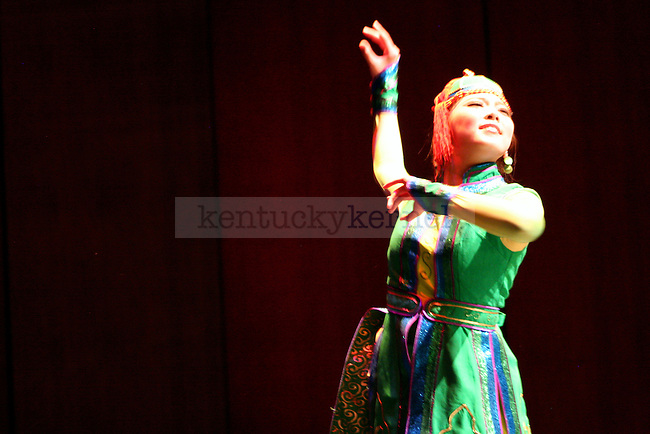 "A solo dancer performs her composition entitled ""Legend of the Eagle"" during the Arts College of Inner Mongolia University's production ""An Evening of Mongolian Dance and Music"" in the Singletary Center for the Arts at UK  in Lexington, Ky., on Monday, October 29, 2012. Photo by Adam Pennavaria 