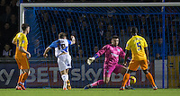 Matty Taylor of Bristol Rovers  turns to score his hat trick during the Sky Bet League 2 rearranged match between Bristol Rovers and Wycombe Wanderers at the Memorial Stadium, Bristol, England on 1 December 2015. Photo by Andy Rowland.