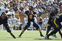Beau Sweeney throws the ball. The University of California Berkeley Golden Bears defeated the UC Davis Aggies 52-3 in their home opener at Memorial Stadium in Berkeley, California on September 4th, 2010.