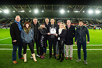 Lee Trundle with match ball sponsor during the Sky Bet Championship match between Swansea City and Queens Park Ranger at the Liberty Stadium in Swansea, Wales, UK. Tuesday 11 February 2020