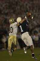 09 October 2004:  Penn State CB Anwar Phillips (1) intercepts a Kyle Orton pass intended for WR Brian Hare (80)..Purdue defeated Penn State 20-13  October 9, 2004 at Beaver Stadium in State College, PA....