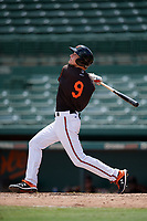 GCL Orioles Gunnar Henderson (9) hits a double during a Gulf Coast League game against the GCL Braves on August 5, 2019 at Ed Smith Stadium in Sarasota, Florida.  GCL Orioles defeated the GCL Braves 4-3 in the second game of a doubleheader.  (Mike Janes/Four Seam Images)