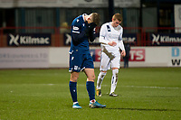 3rd March 2020; Dens Park, Dundee, Scotland; Scottish Championship Football, Dundee FC versus Alloa Athletic; Andrew Nelson of Dundee shows his dejection after his close range header had hit the crossbar