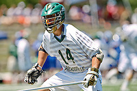 April 30, 2011:  Jacksonville Dolphins defender Garrett Swaim (14) during lacrosse action between the Duke Blue Devils and Jacksonville Dolphins at D. B. Milne Field in Jacksonville, Florida.  Duke defeated Jacksonville 10-6.