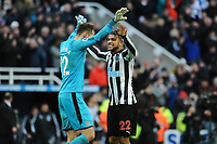 Martin Dubravka of Newcastle United and DeAndre Yedlin of Newcastle United celebrate at the final whistle during Newcastle United vs Manchester United, Premier League Football at St. James' Park on 11th February 2018