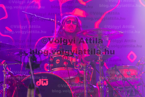 Drummer Joost van Dijck performs with his Dutch-New Zealand band My Baby at their concert on the A38 Stage at Sziget Festival held in Budapest, Hungary on Aug. 13, 2018. ATTILA VOLGYI