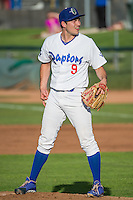 Ogden Raptors starting pitcher Tommy Bergjans (9) looks for the sign before delivering a pitch to the plate against the Grand Junction Rockies in Pioneer League action at Lindquist Field on July 6, 2015 in Ogden, Utah. Ogden defeated Grand Junction 8-7. (Stephen Smith/Four Seam Images)