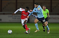 Fleetwood Town's Jay Matete battles with Accrington Stanley's Seamus Conneely<br /> <br /> Photographer Dave Howarth/CameraSport<br /> <br /> Leasing.com Trophy Northern Section Round Three - Fleetwood Town v Accrington Stanley - Tuesday 7th January 2020 - Highbury Stadium - Fleetwood<br />  <br /> World Copyright © 2018 CameraSport. All rights reserved. 43 Linden Ave. Countesthorpe. Leicester. England. LE8 5PG - Tel: +44 (0) 116 277 4147 - admin@camerasport.com - www.camerasport.com