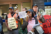 Clara Osagiede speaks at an RMT picket of London offices of Initial Rentokil over exploitation of tube cleaners and misuse of immigration authorities to intimidate contract workers.