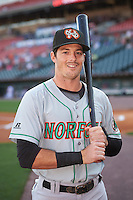 Norfolk Tides left fielder Mike Yastrzemski (3) poses for a photo before a game against the Buffalo Bisons on July 18, 2016 at Coca-Cola Field in Buffalo, New York.  Norfolk defeated Buffalo 11-8.  (Mike Janes/Four Seam Images)