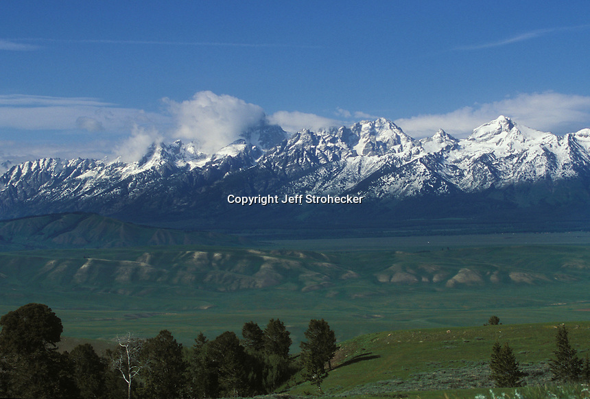 The Grand Tetons viewed from across an Elk Wildlife Refuge near Jackson, Wyoming.