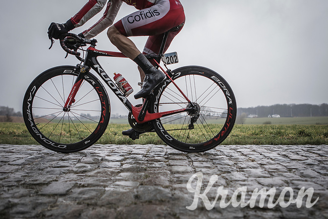 Geoffrey SOupe (Fra/Team Cofidis) on the cobbles.<br /> <br /> 73th Dwars Door Vlaanderen (1.UWT)<br /> 1day race: Roeselare › Waregem BEL (180km)