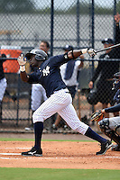 GCL Yankees 2 outfielder Anderson Feliz (30) hits a home run during a game against the GCL Braves on June 23, 2014 at the Yankees Minor League Complex in Tampa, Florida.  GCL Yankees 2 defeated the GCL Braves 12-4.  (Mike Janes/Four Seam Images)