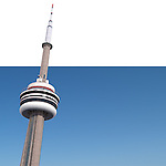 Toronto CN Tower isolated on white blue background. Photorealistic 3D illustration.
