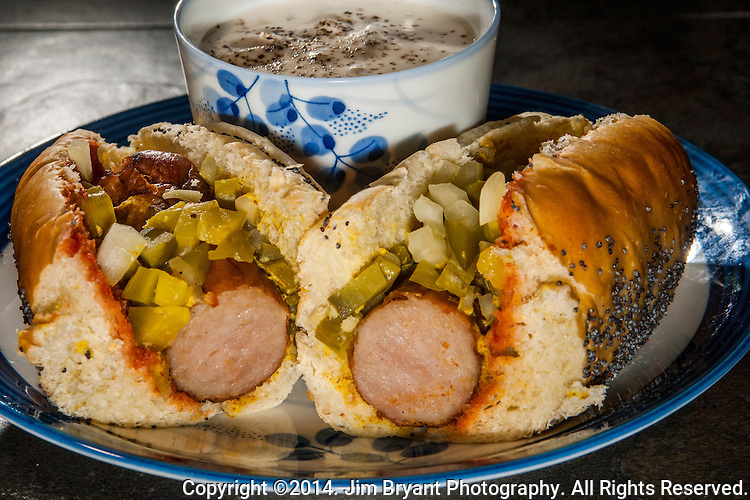 New England Clam Chowder, Boar's Head Bratwurst, with chilly, Cafe Gabriette hot dog buns, cheese, onions and pickle. ©2014 Jim Bryant Photo. All Rights Reserved.