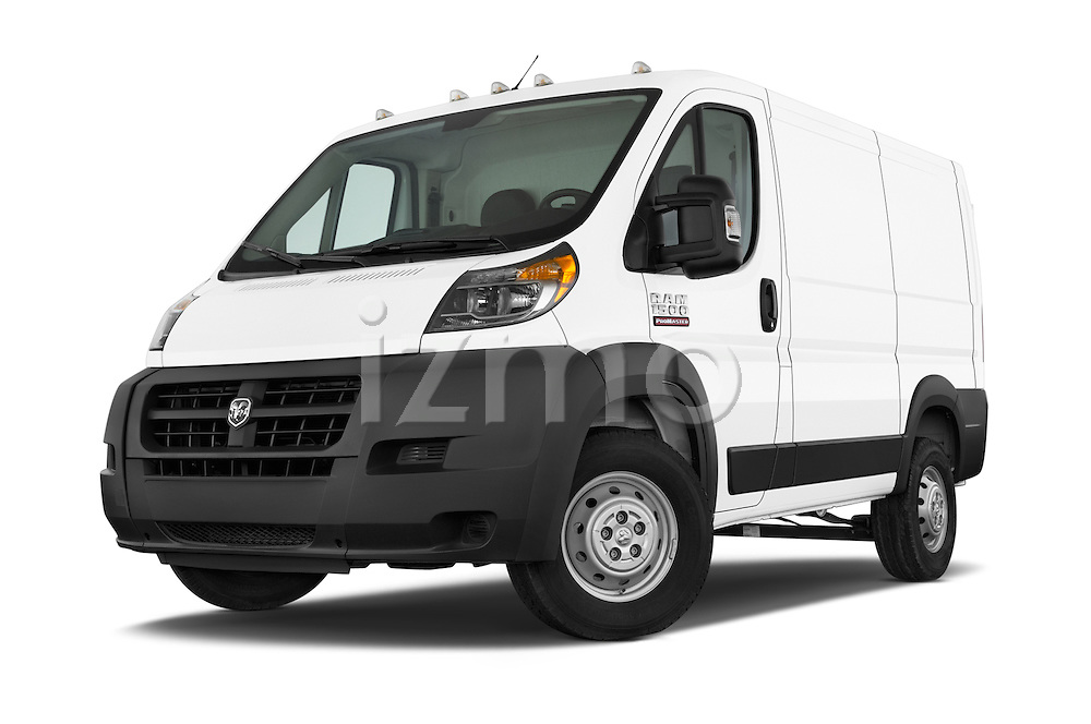 Stock pictures of low aggressive front three quarter view of a 2015 Ram Promater 1500 118 Wb  4 Door Cargo Van
