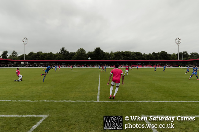 Salford City 2 FC United of Manchester 1, 15/07/2017. Moor Lane, Pre Season Friendly. Salford cross the halfway line during Salford City v FC United of Manchester in a pre season friendly at Moor Lane Salford. Photo by Paul Thompson.