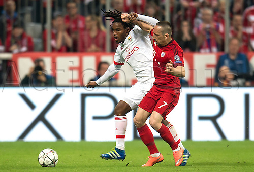 05.04.2016. Munich, Germany.  Munich's Franck Ribery (r) and Benfica's Renato Sanches in action during the Champions League quarter finals first leg soccer match between Bayern Munich and S.L. Benfica at Allianz Arena