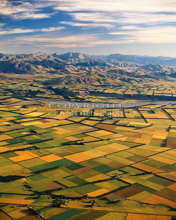 Aerial of the Canterbury Plains and the Rakaia River. Canterbury New Zealand. Vertical format.