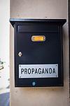 Propaganda - sign in letterbox in Barcelona