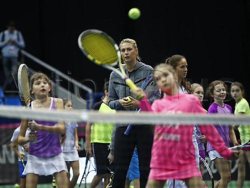 05.02.2016. Moscow, Russia. Fed Cup International Tennis. Russia versus Netherlands.   Sharapova held a master class for young tennis players before the formal games started