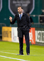 D.C. United head coach Ben Olsen yells to his team during a Major League Soccer game at RFK Stadium in Washington, DC. D.C. United tied the Philadelphia Union, 1-1.
