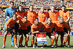 14 JUN 2010:  The Netherlands starting lineup:  (front row)(l-r) Rafael van der Vaart (NED)(23), Gregory van der Wiel (NED)(2), Giovanni van Bronckhorst (NED)(5), Wesley Sneijder (NED)(10), Nigel de Jong (NED)(8); (back row)(l-r) Maarten Stekelenburg (NED)(1), Robin van Persie (NED)(9), Joris Mathijsen (NED)(4), John Heitinga (NED)(3), Dirk Kuyt (NED)(7), Mark van Bommel (NED)(6).  The Netherlands National Team played the Denmark National Team at Soccer City Stadium in Johannesburg, South Africa in a 2010 FIFA World Cup Group E match.